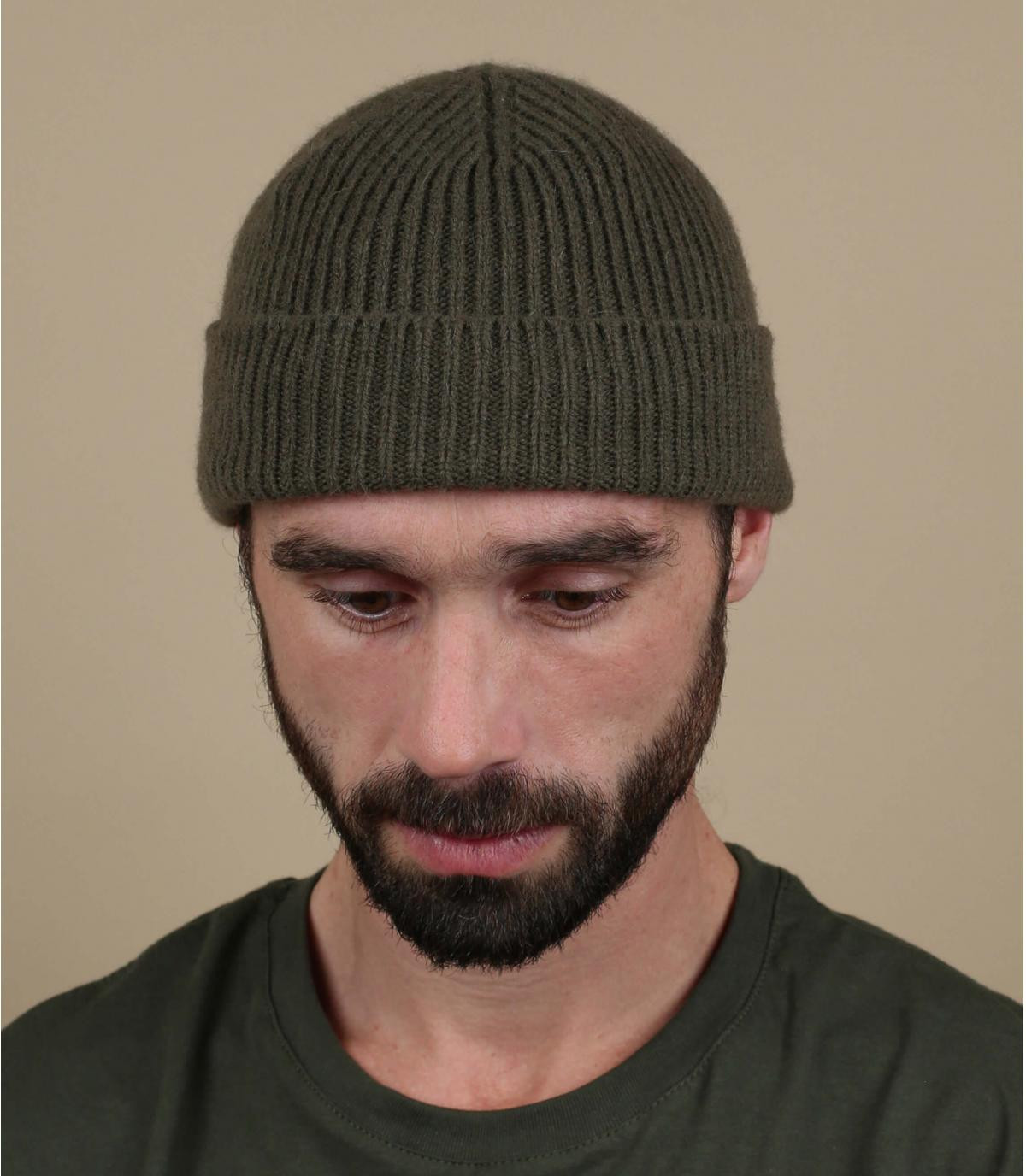gorro puño verde lana