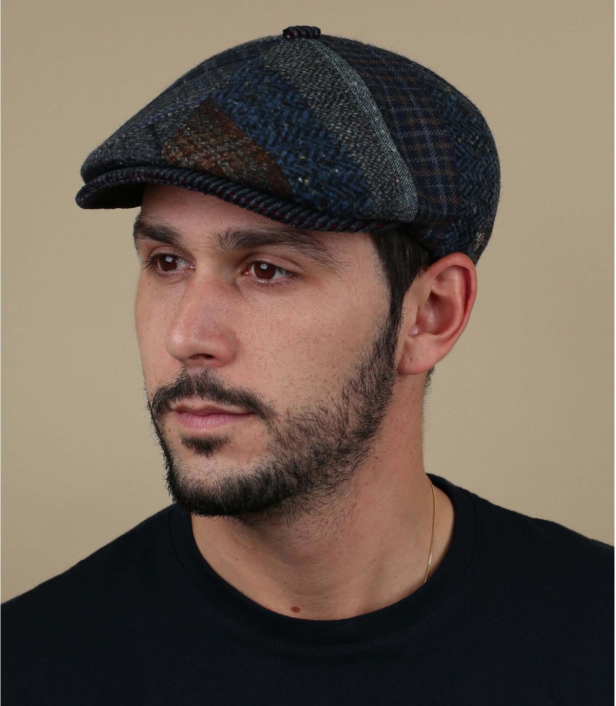 gorra lana rayas azul