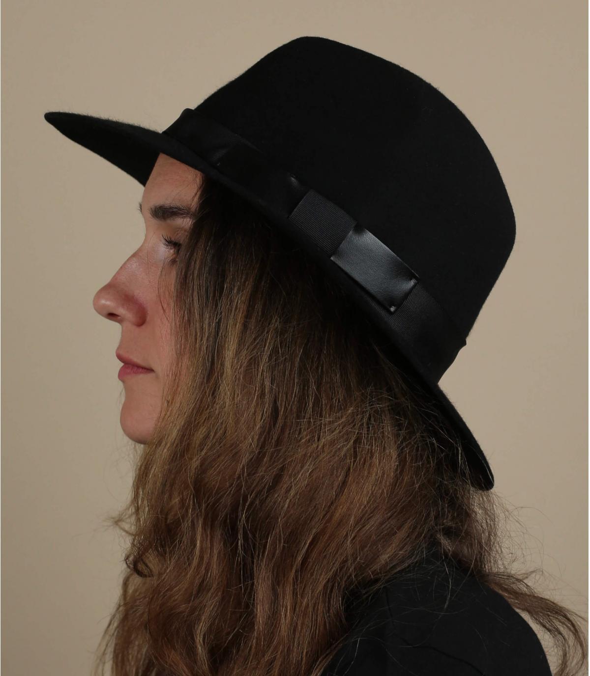 sombrero fedora negro fieltro