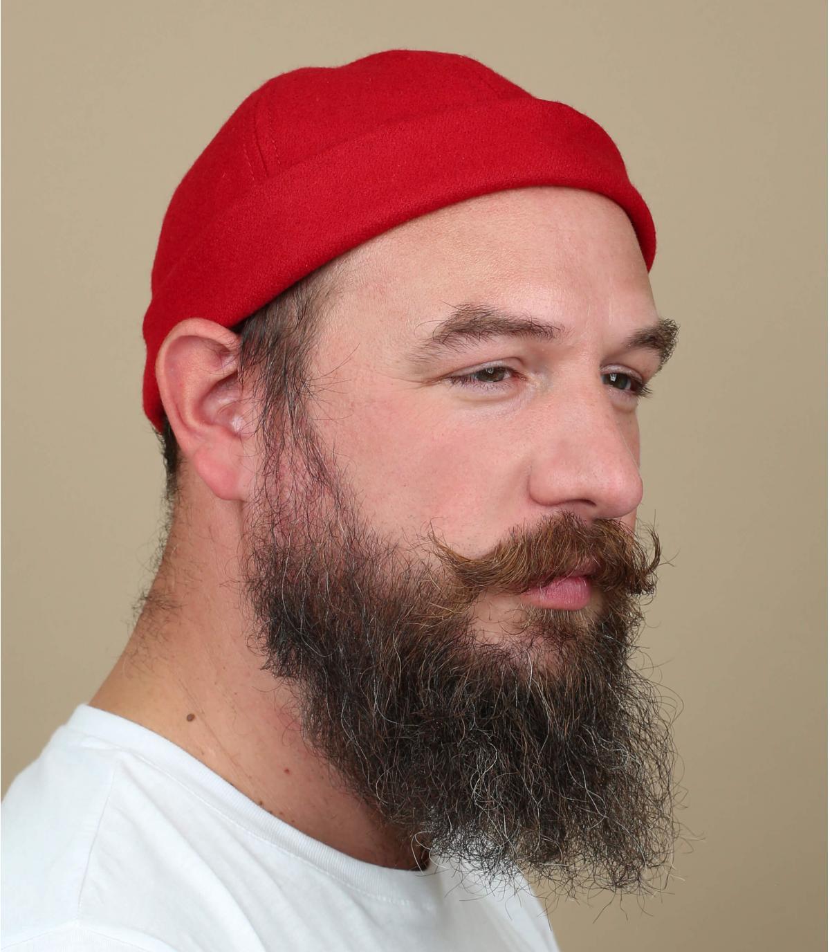 gorro docker rojo lana
