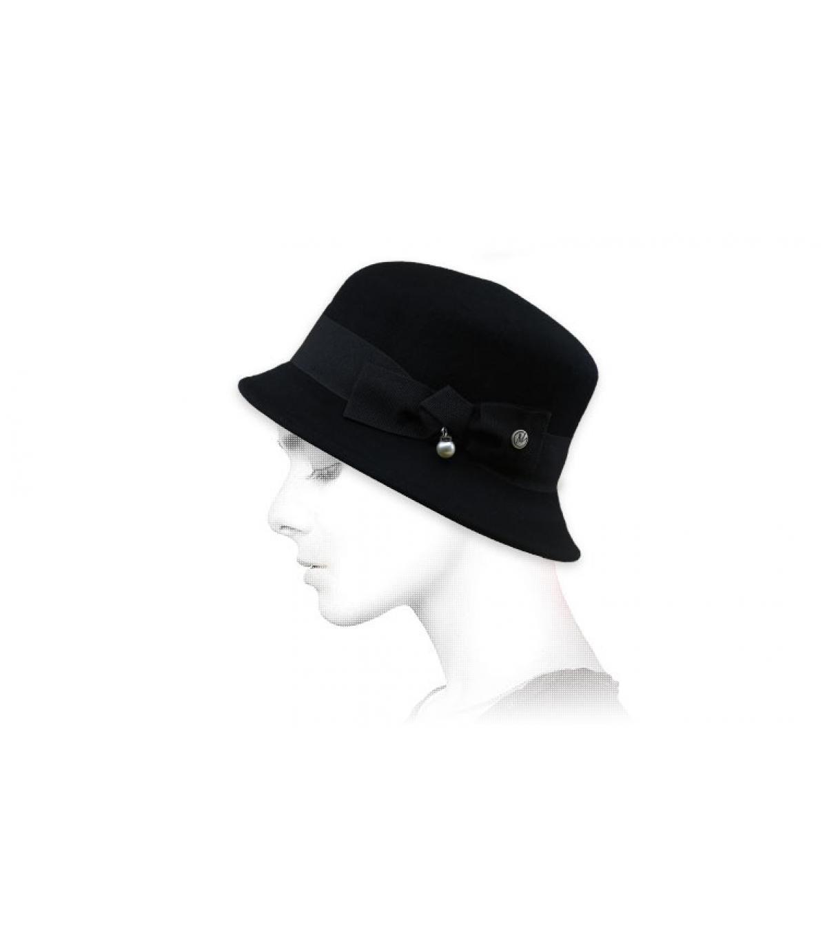 sombrero campana gris lazo