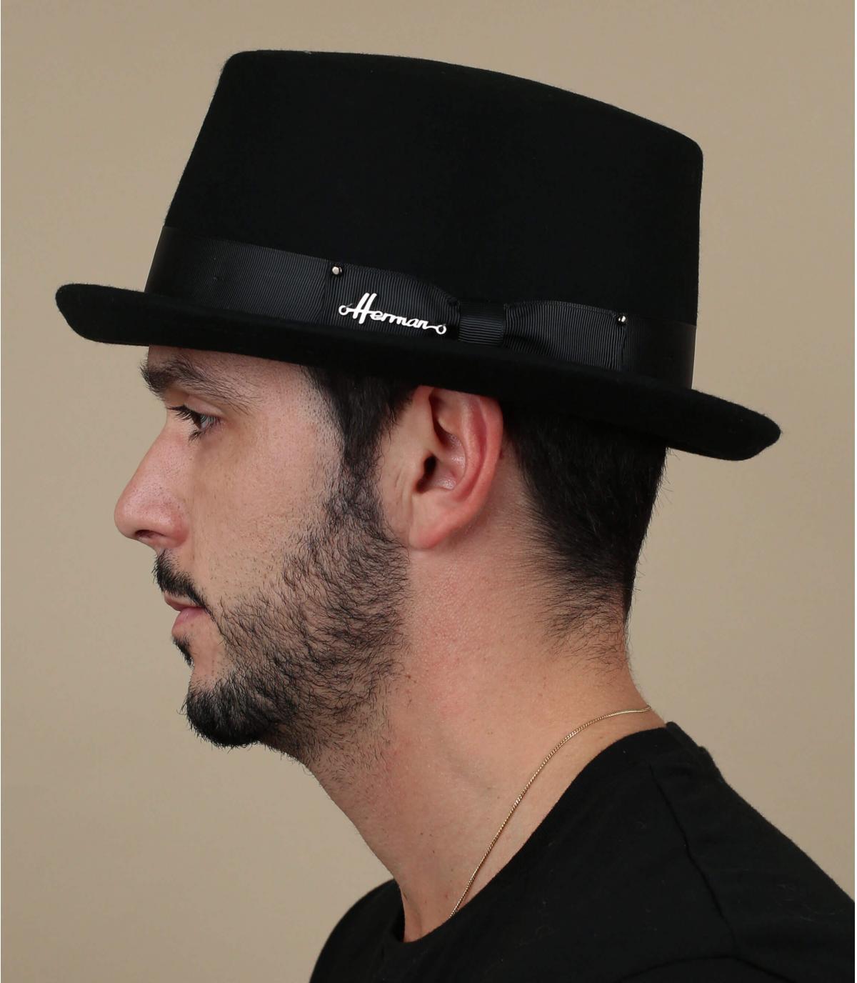 sombrero de copa negro fieltro