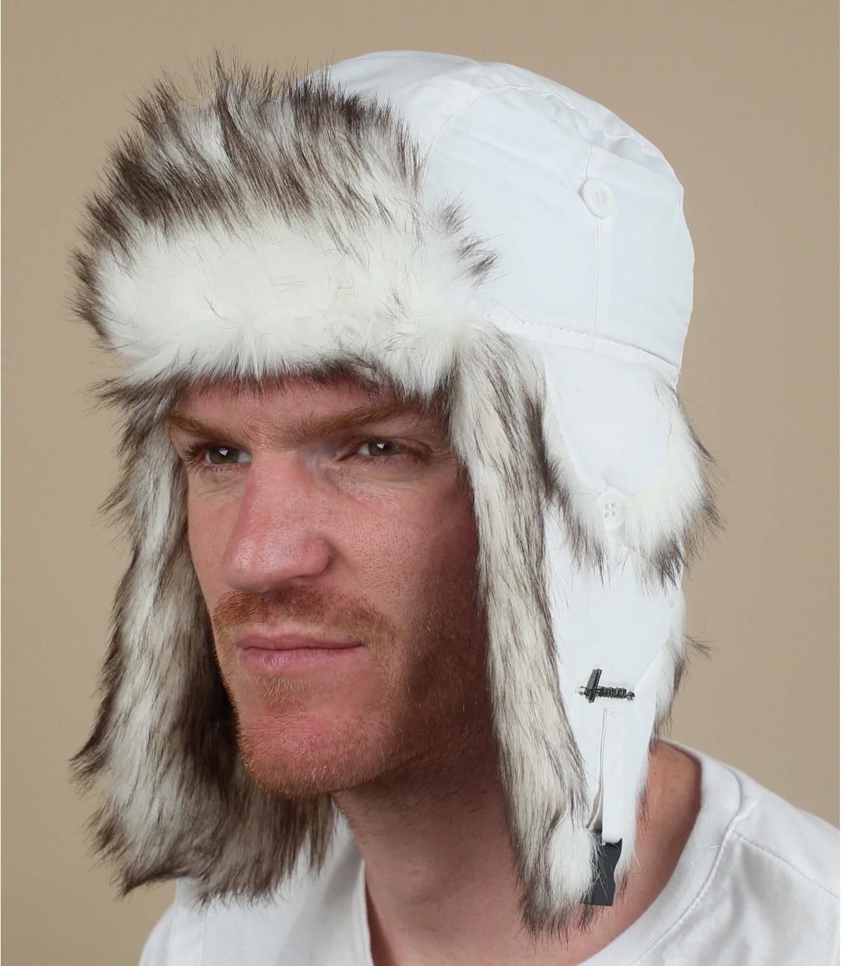 gorro ruso blanco pelo