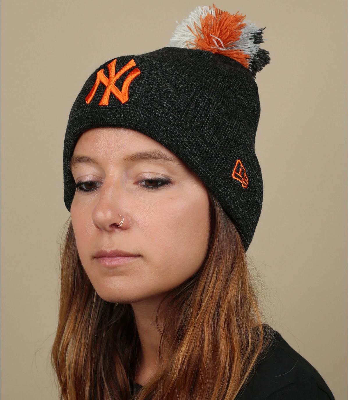 gorro NY mujer gris naranja