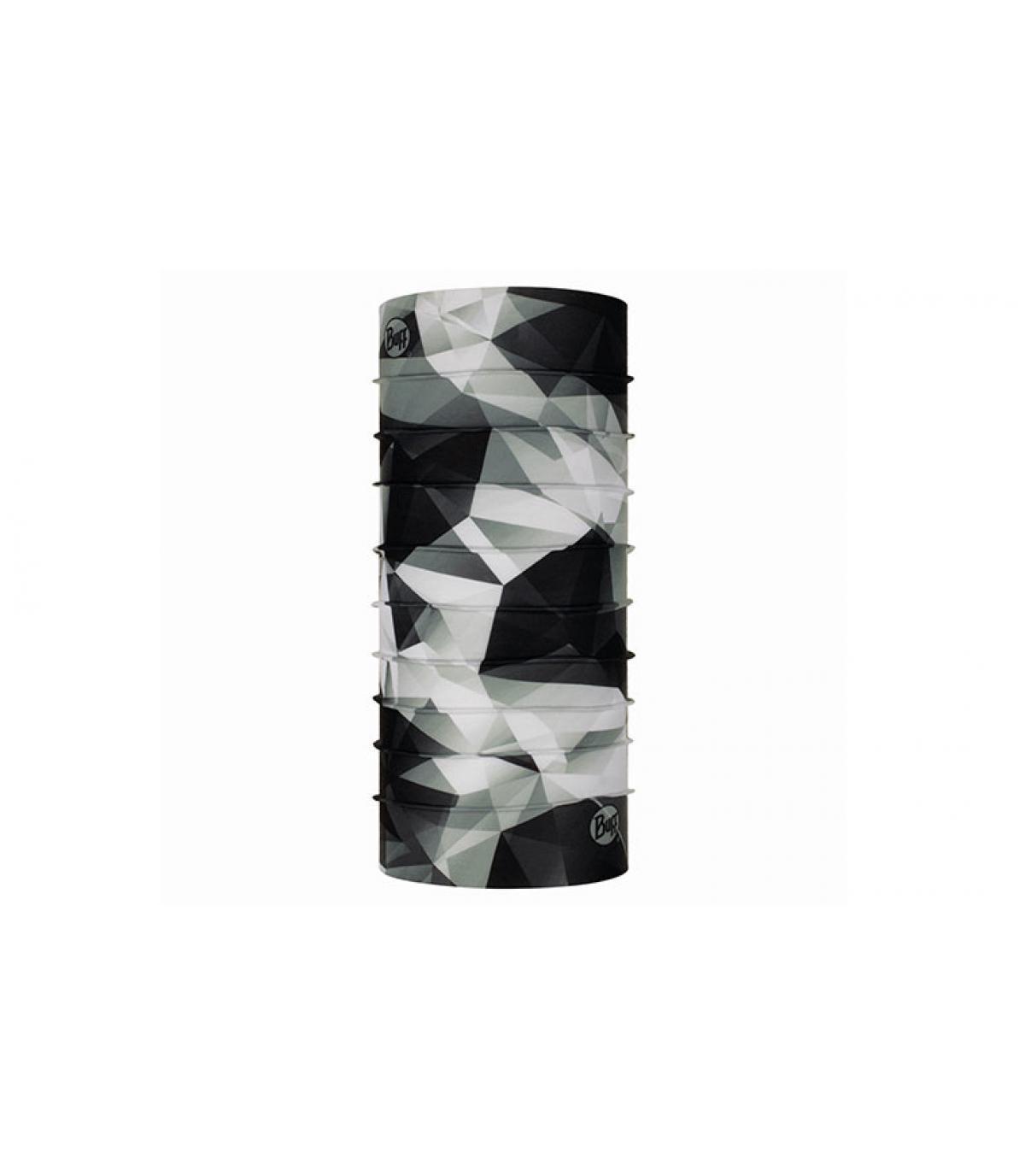 Buff negro blanco estampado geometrico
