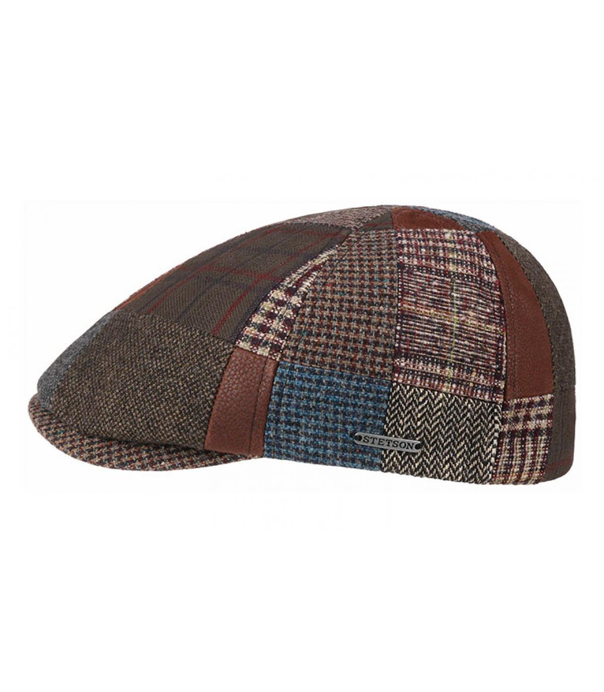 gorra patchwork lana cuero