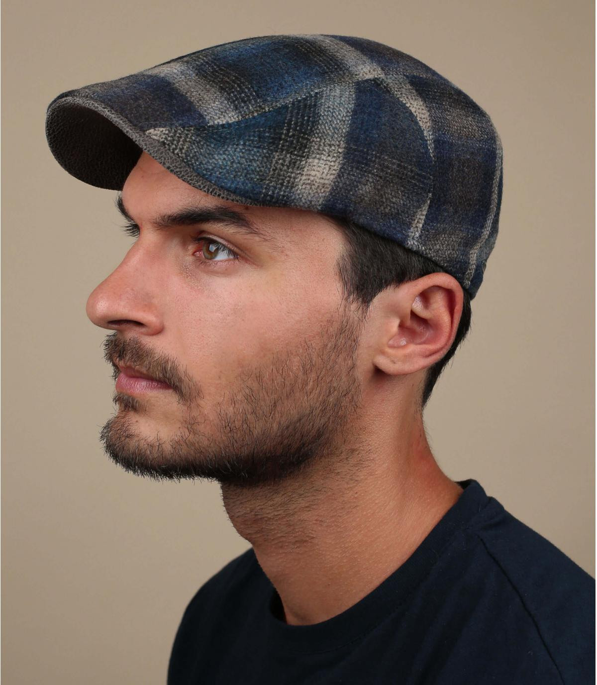 gorra lana azul beis