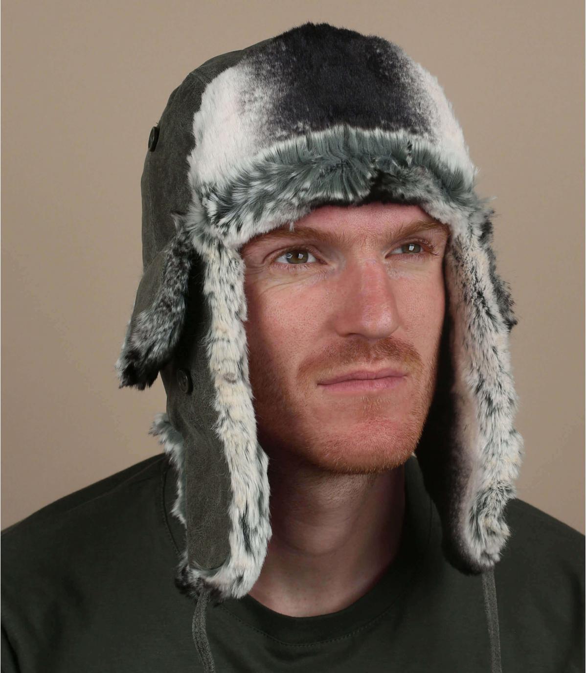 gorro ruso cuero verde