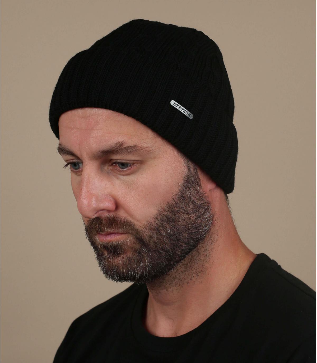 gorro puño negro lana