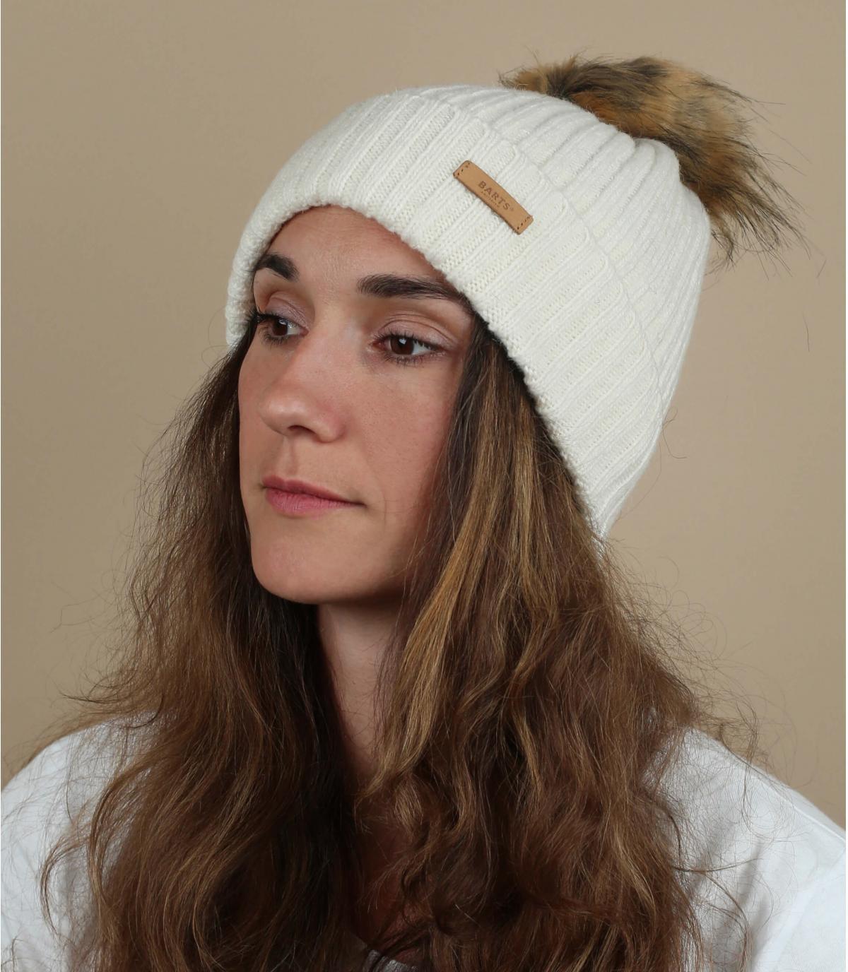gorro lana blanco pompón pelo