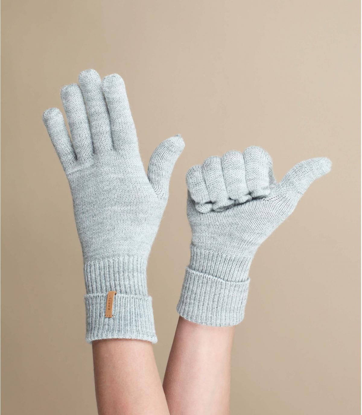 guantes gris jaspeado