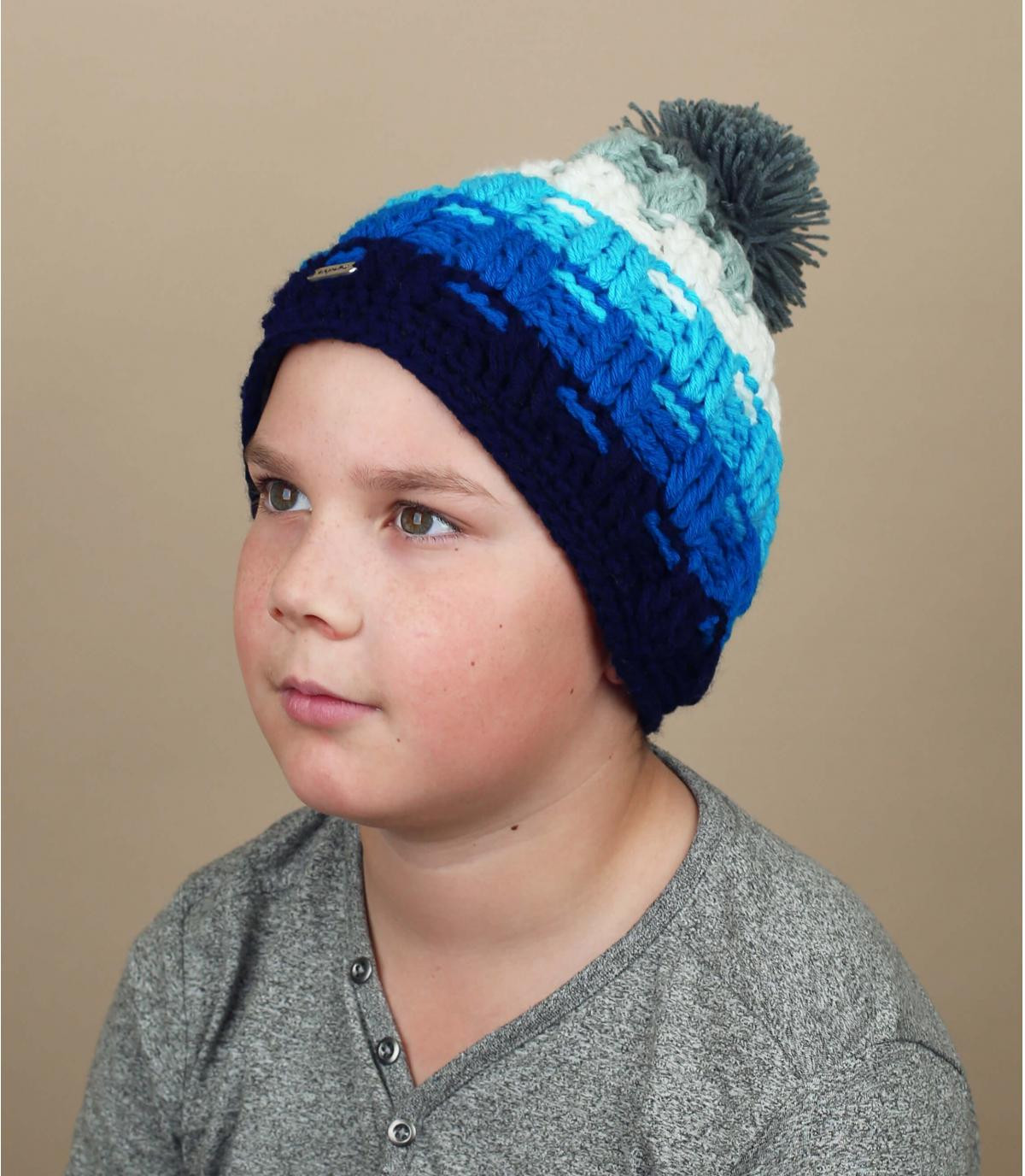 gorro niño pompóm azul