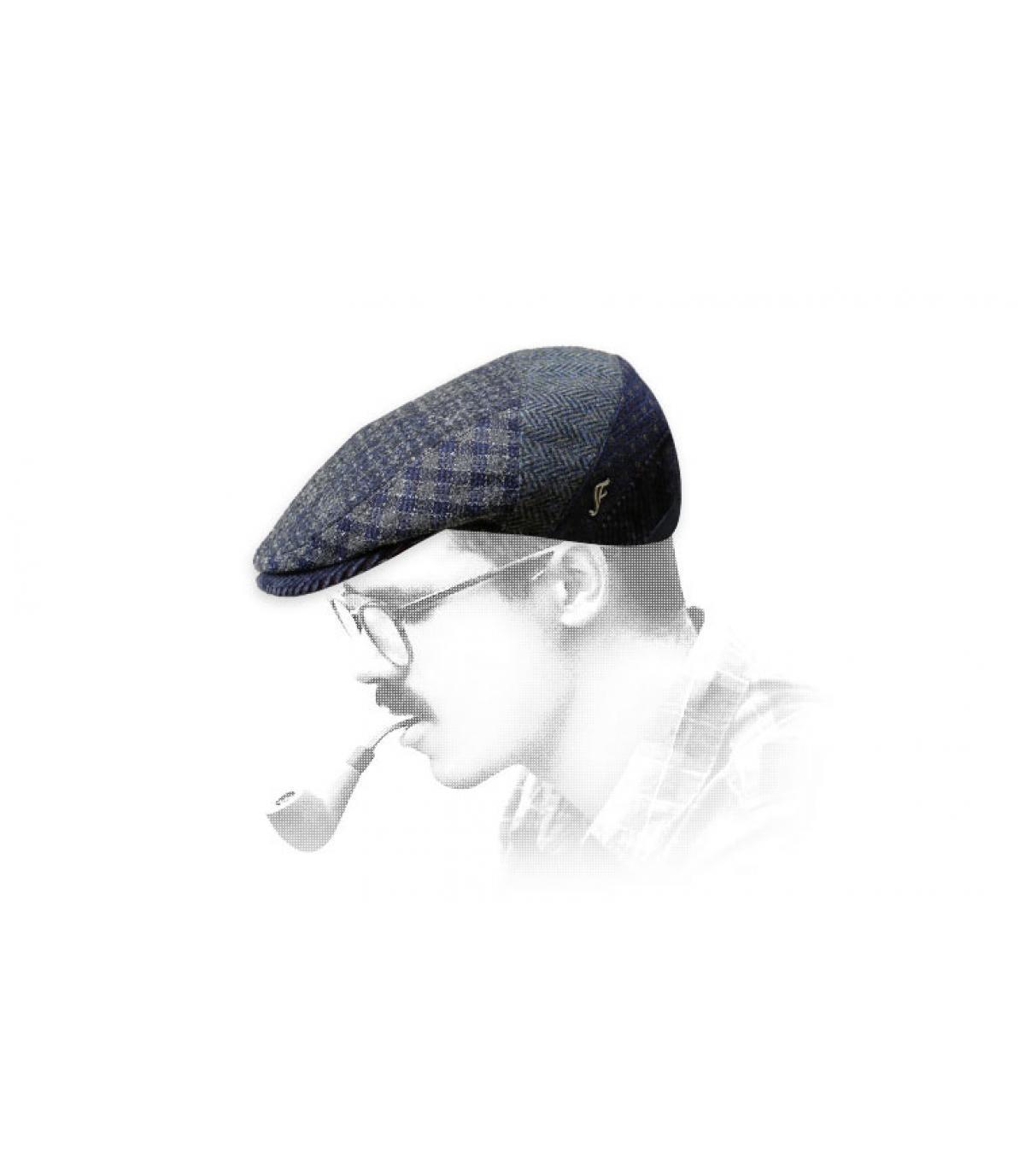 gorra lana azul cuadros