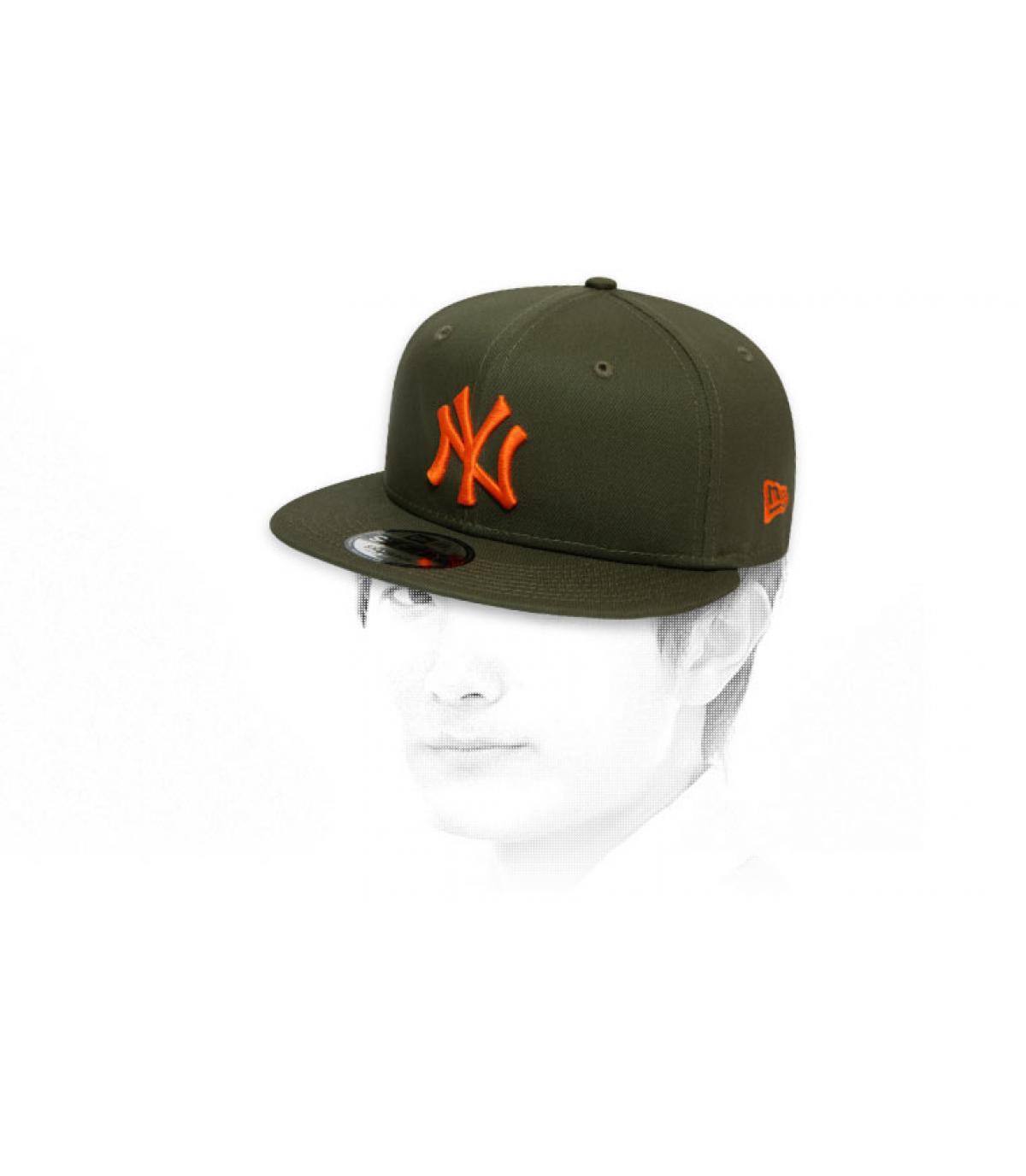 snapback NY verde naranja