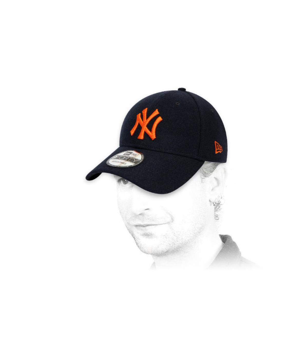 gorra NY azul naranja lana