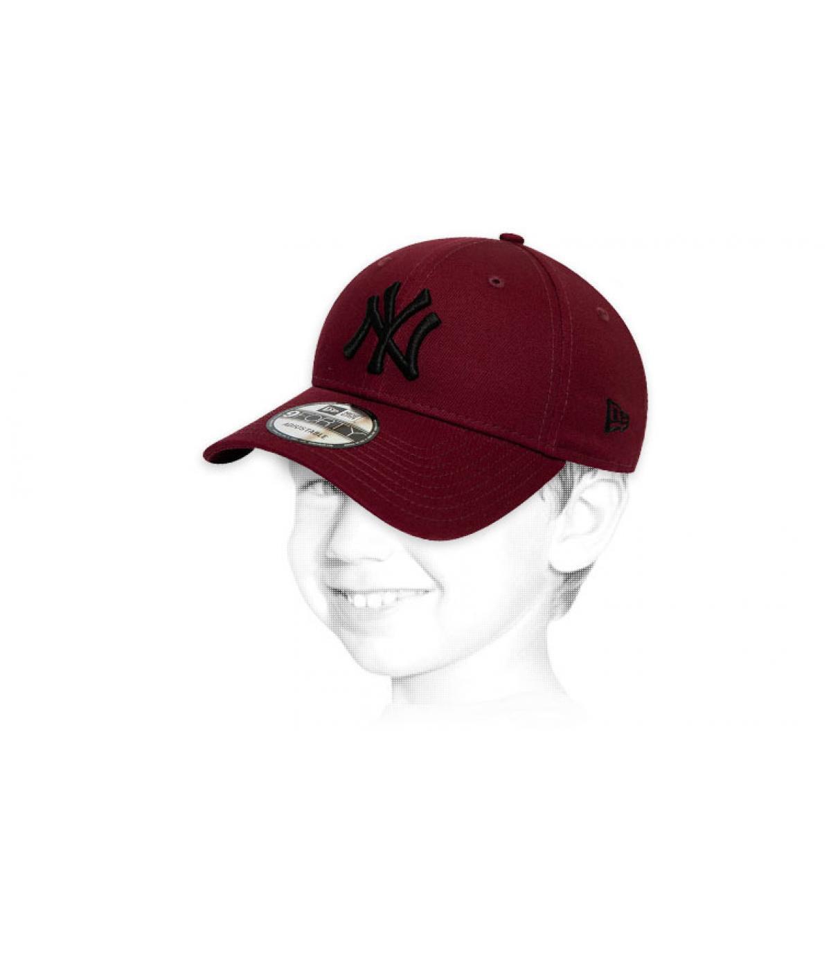 gorra niño NY granate