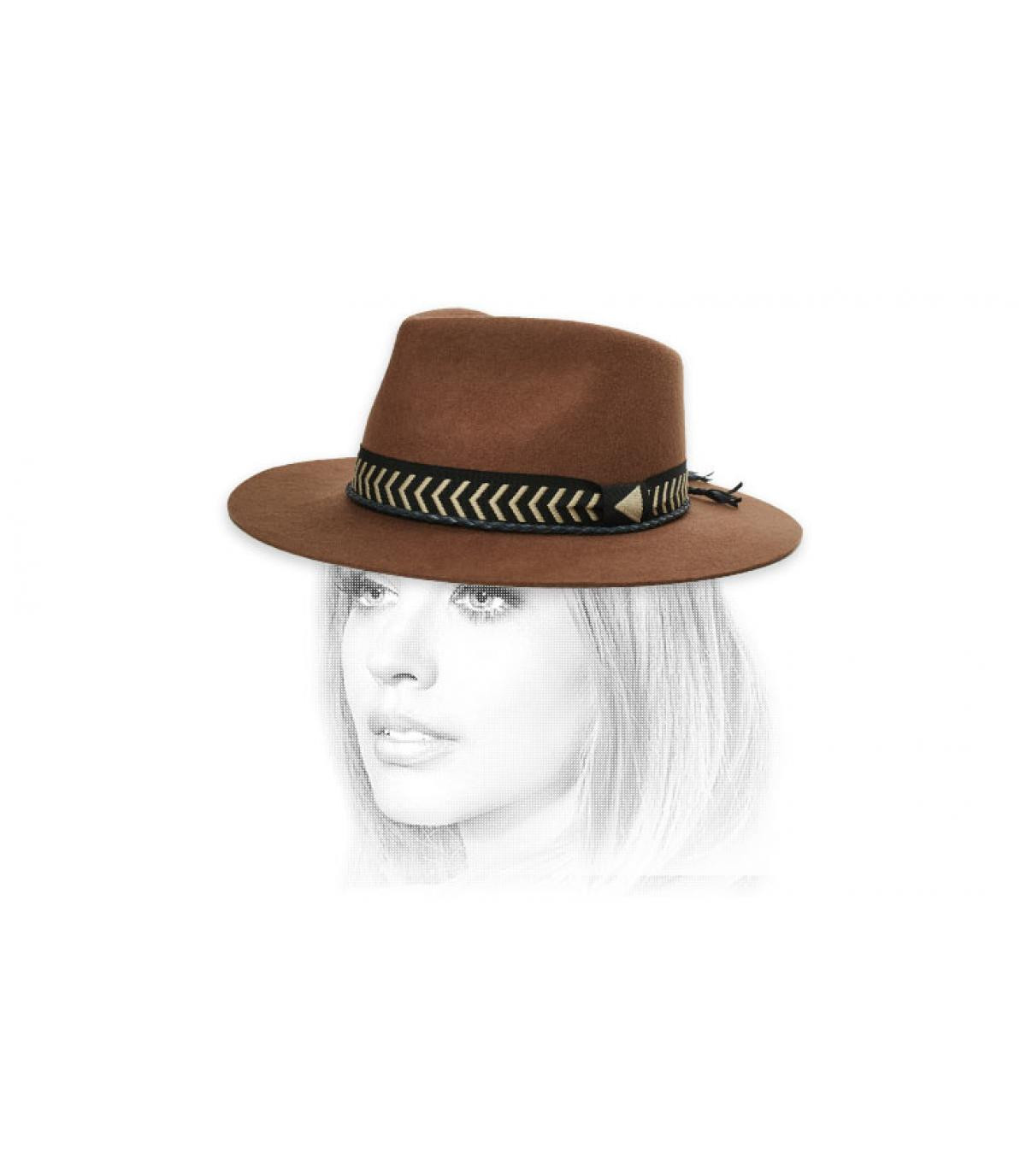 sombrero fieltro cinta trenza