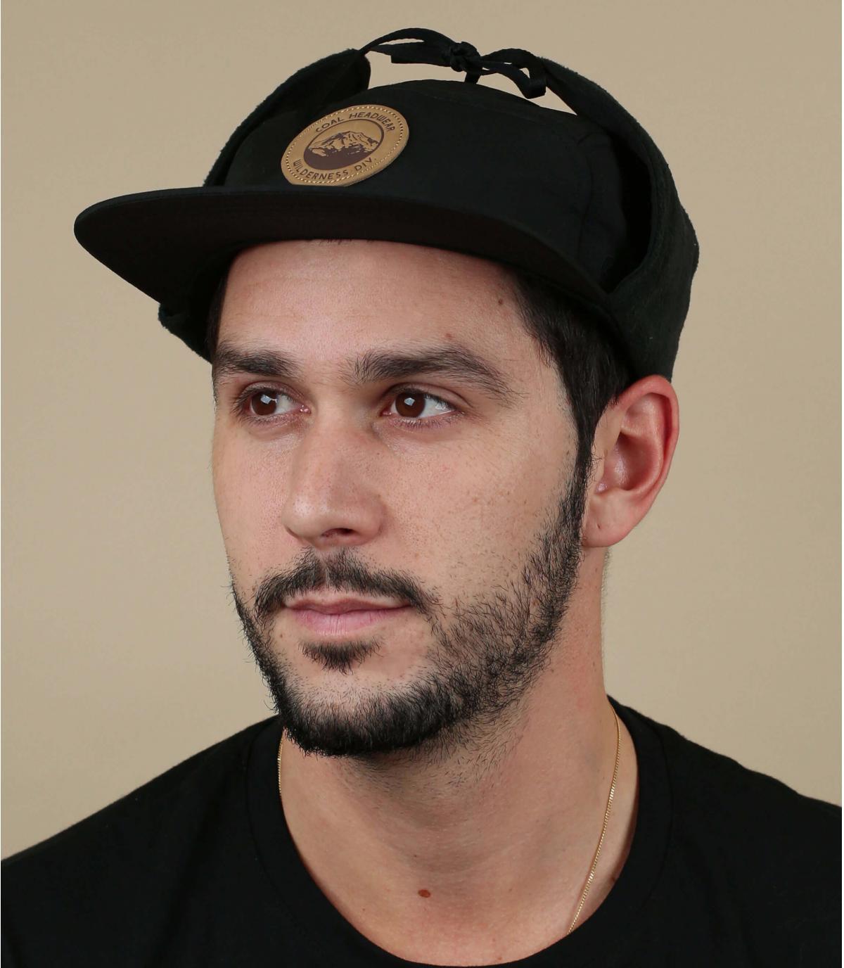 gorra 5 panel proteje orejas negro