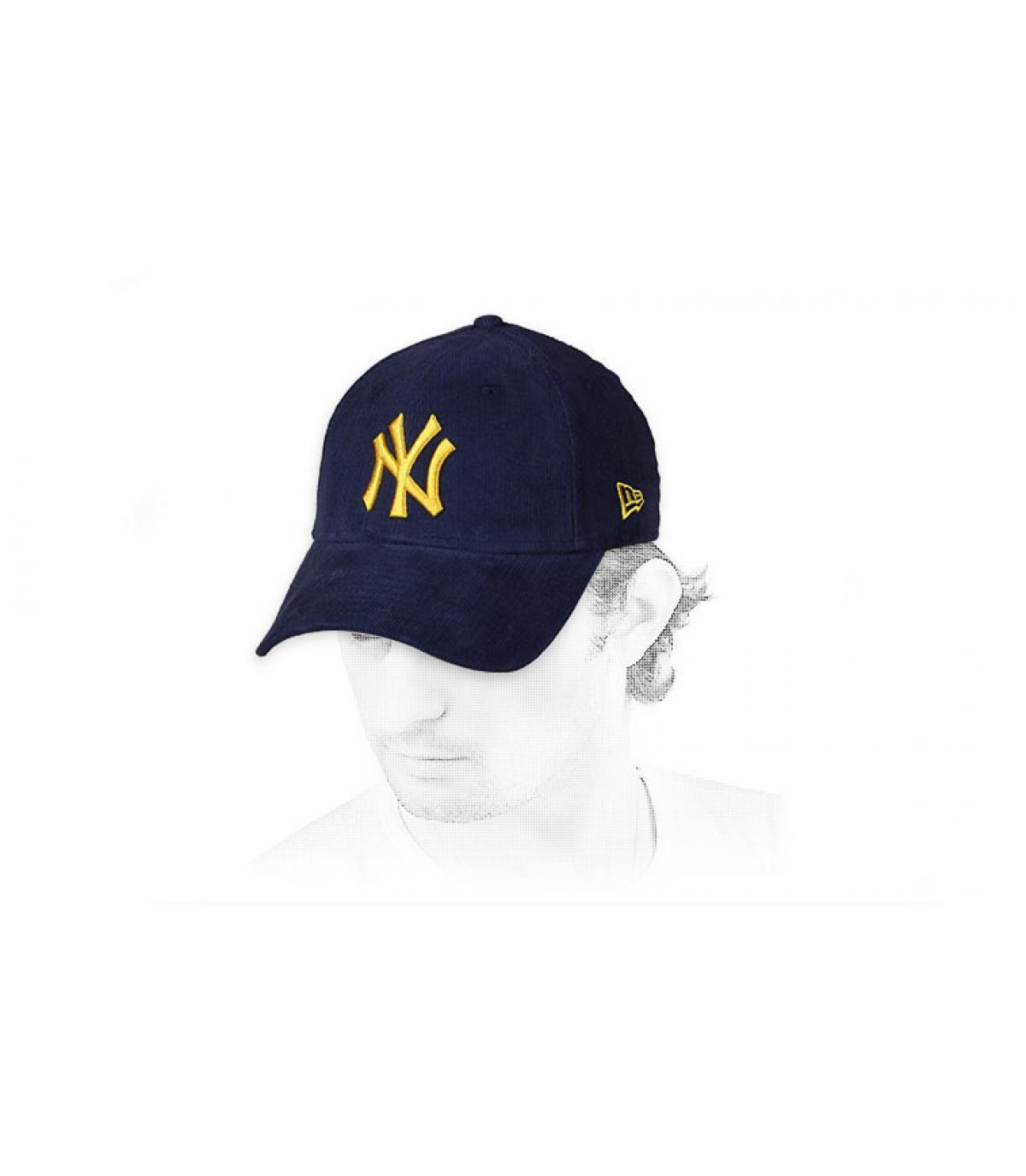 gorra NY pana azul amarillo