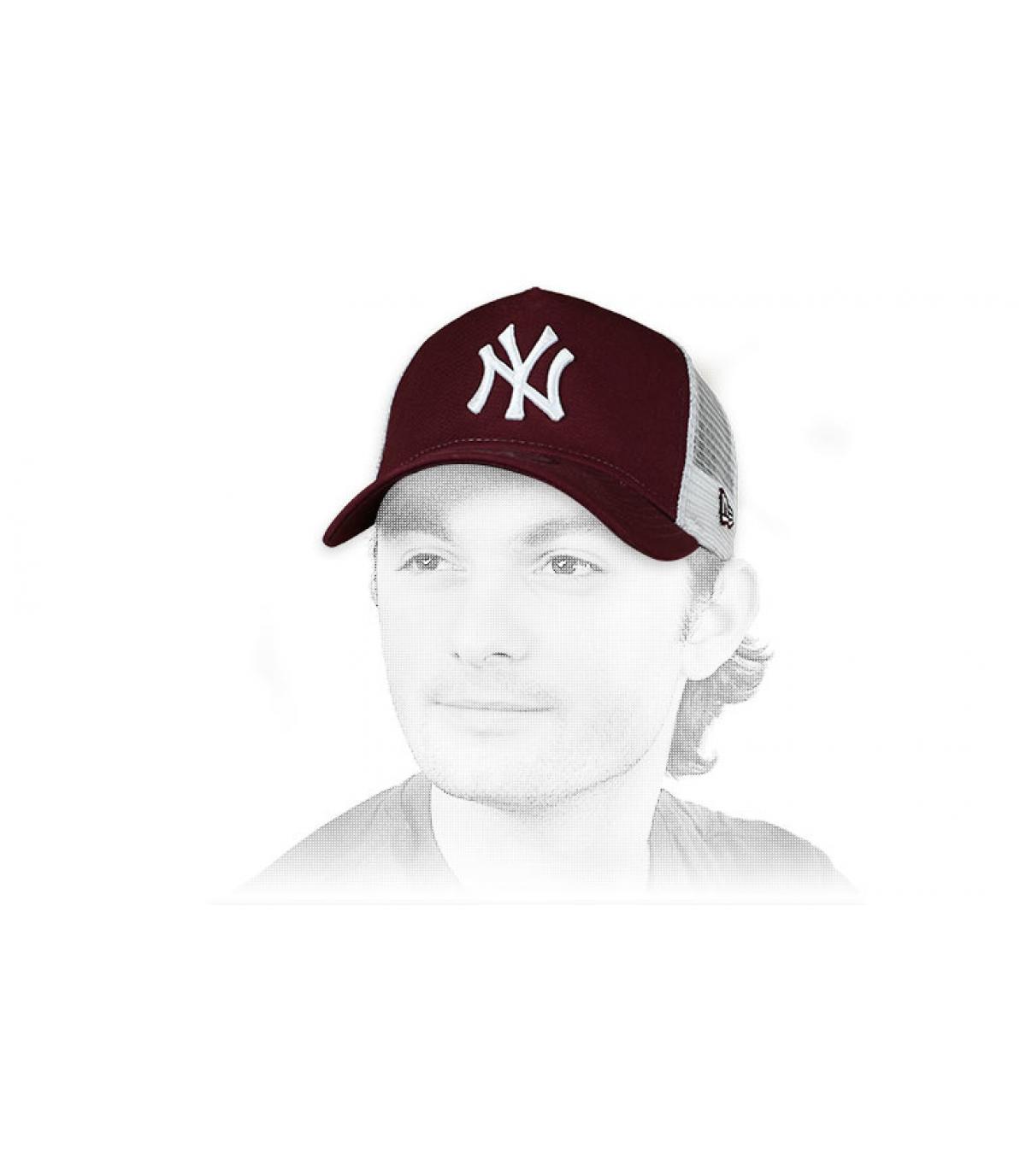 trucker NY granate blanco