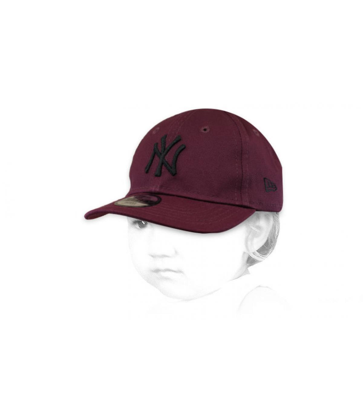 gorra bebe NY granate