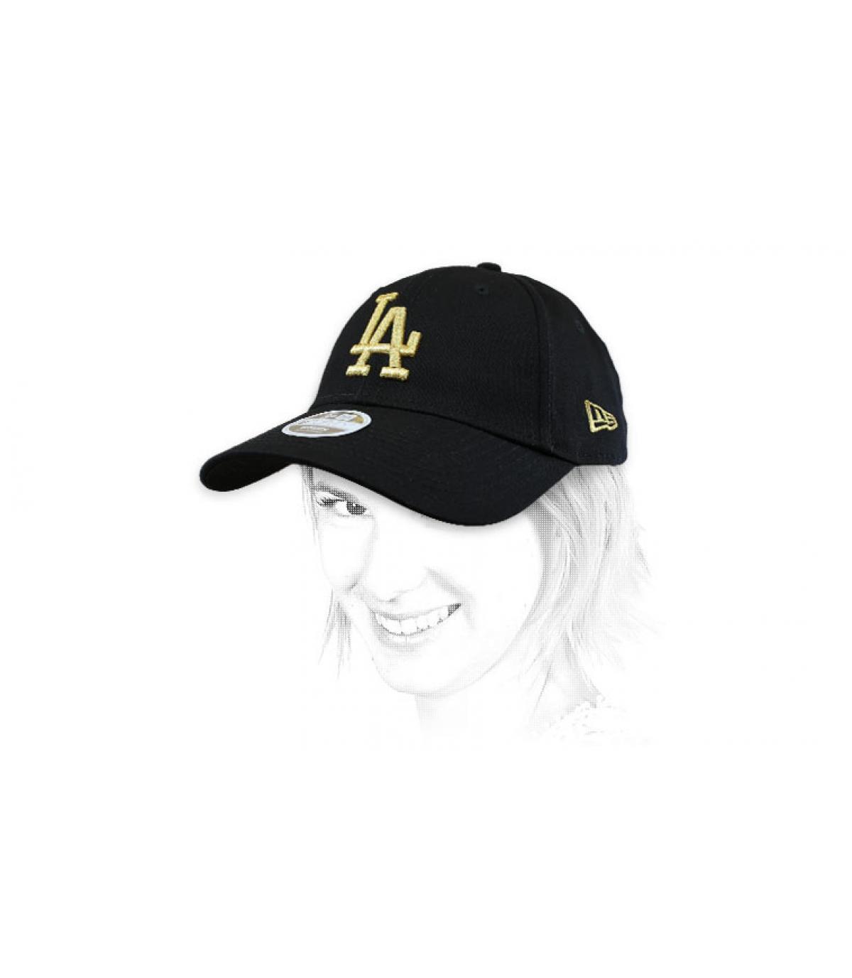 gorra mujer LA negro oro