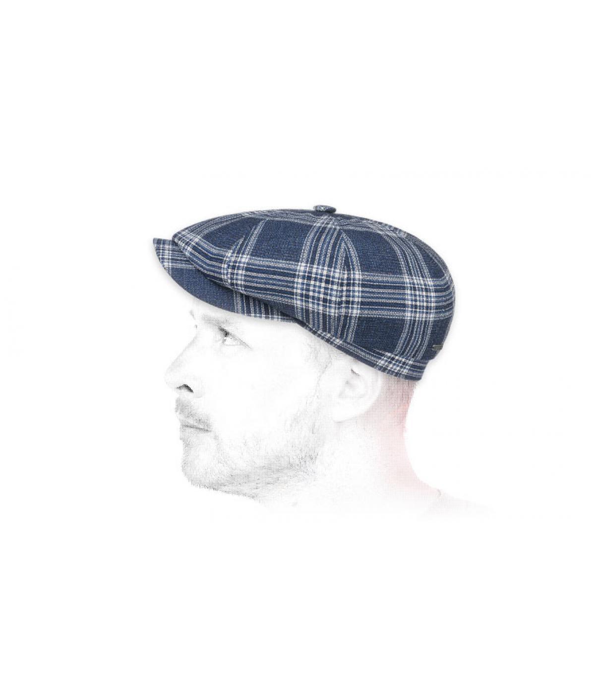 gorra repartidor lana azul cuadros