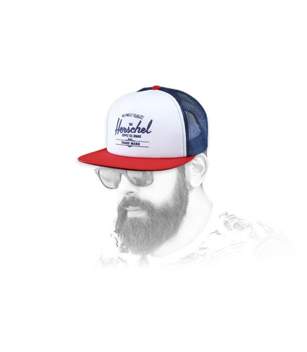 trucker Herschel azul blanco rojo