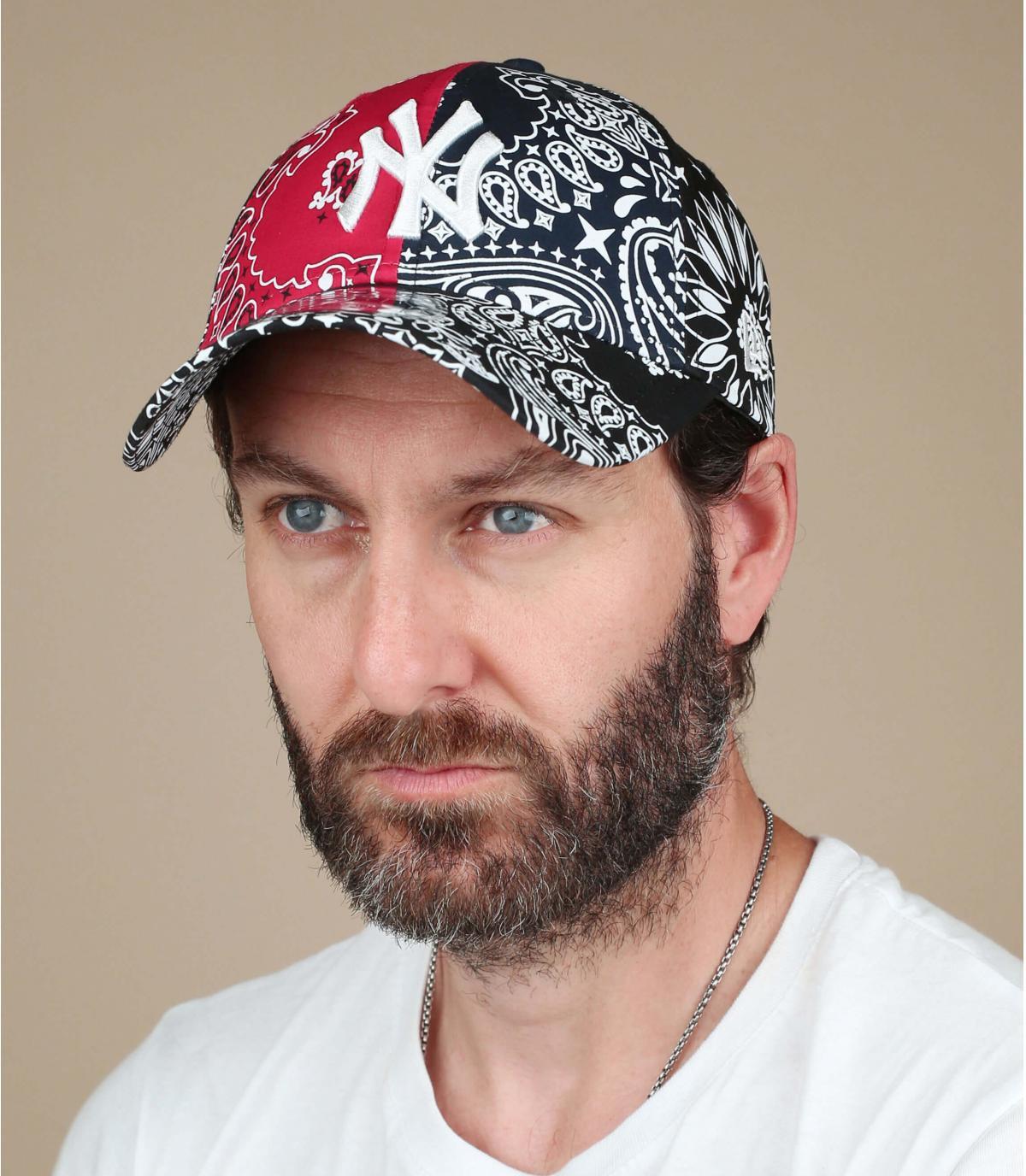 gorra NY bandana negro rojo