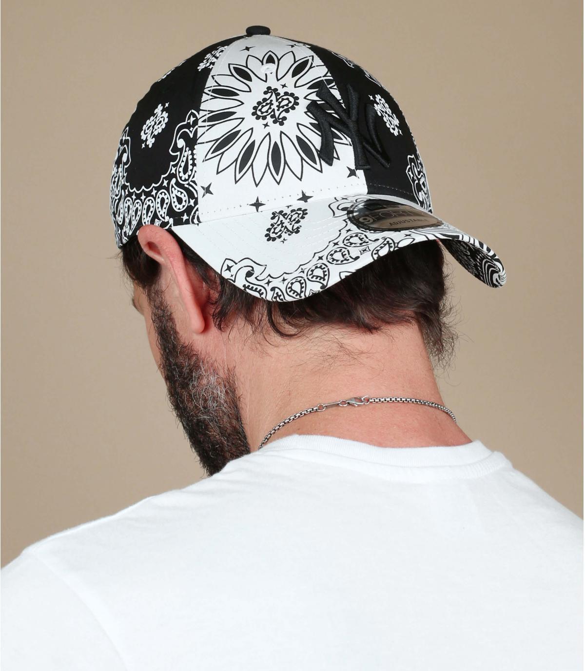 gorra NY bandana negro blanco