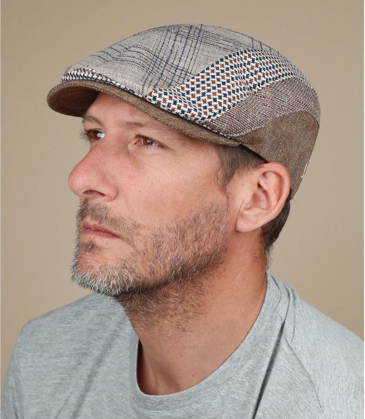 gorra lino rayas beis