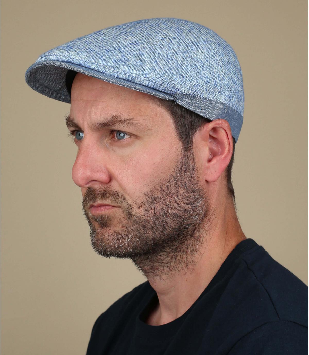 gorra azul lino algodón