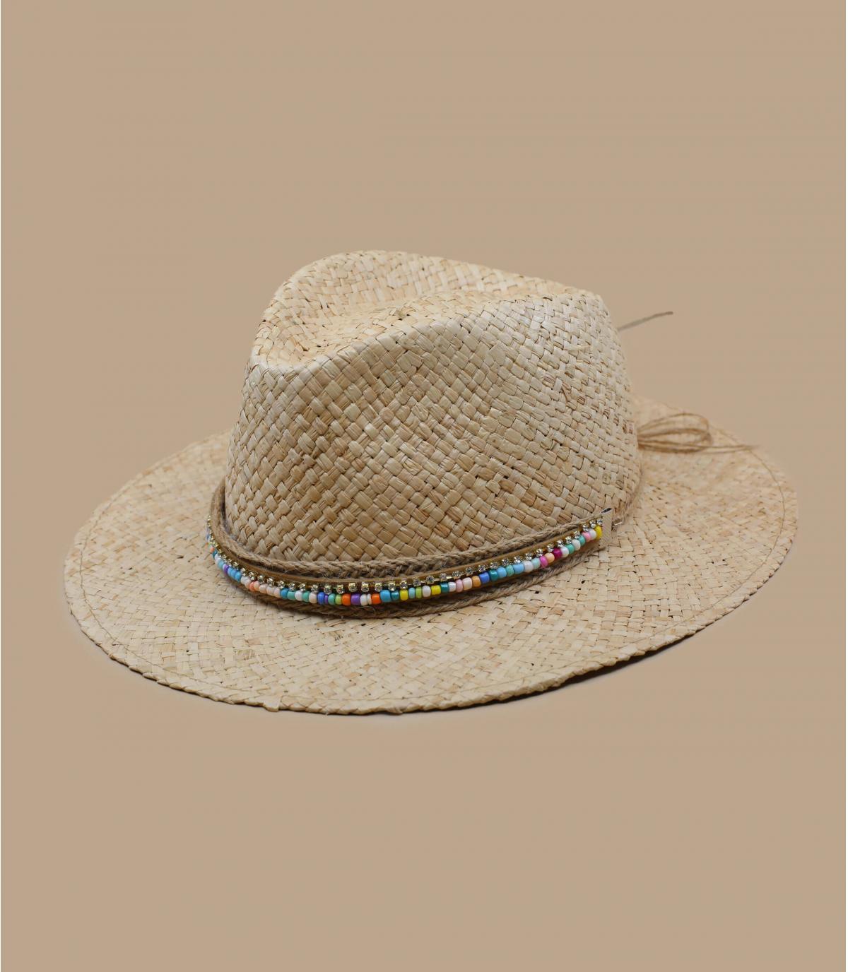 sombrero paja abalorios