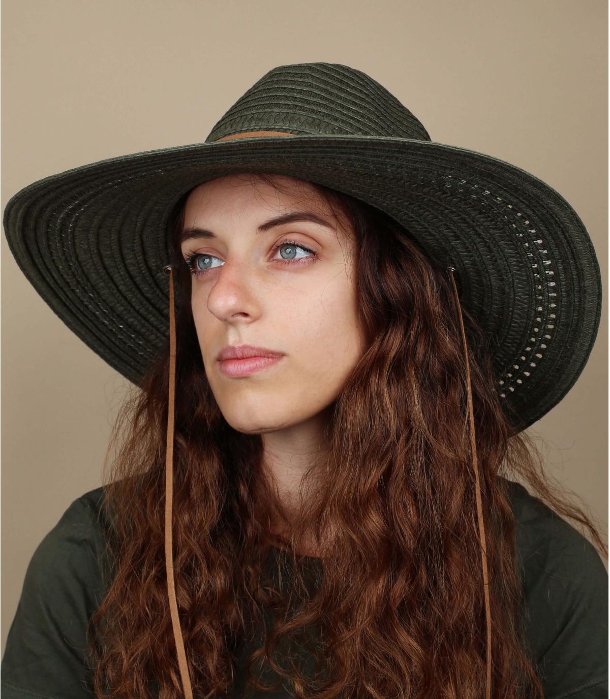 sombrero paja grande verde