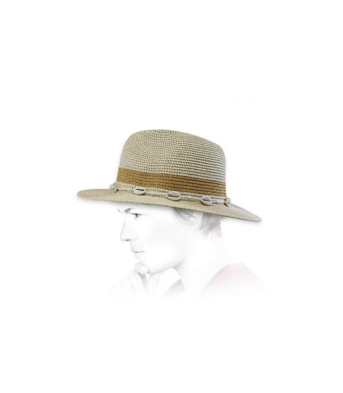 sombrero paja oro conchas