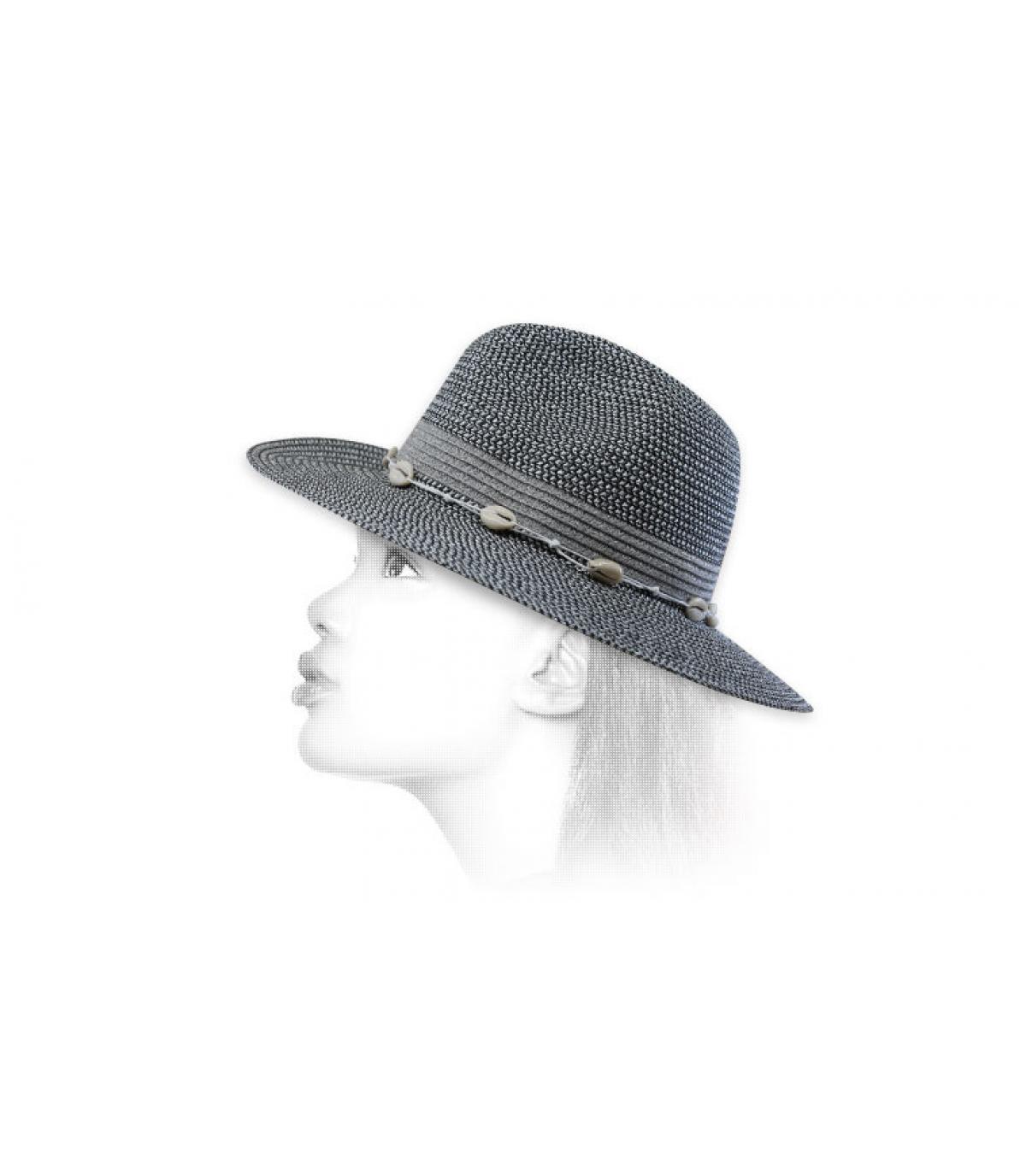 sombrero paja raya plata