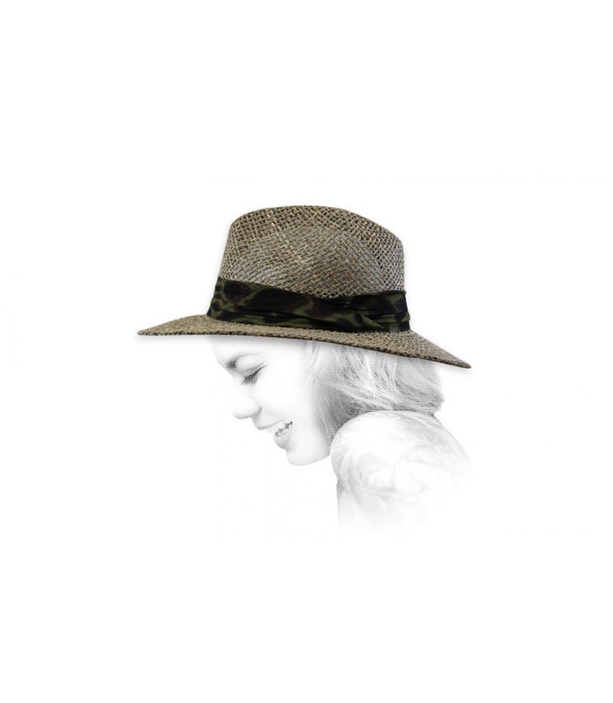 sombrero paja cinta estampada