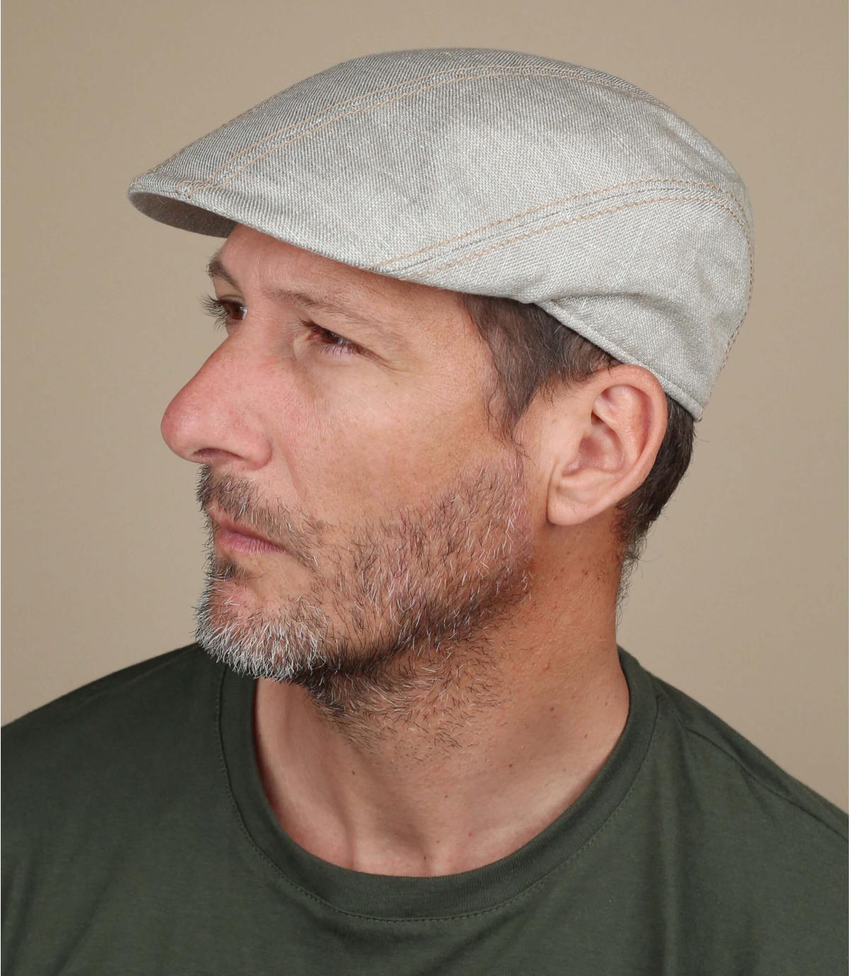 gorra algodón lino beis