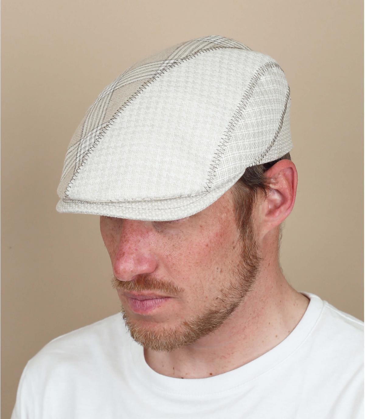 gorra lino beis cuadros