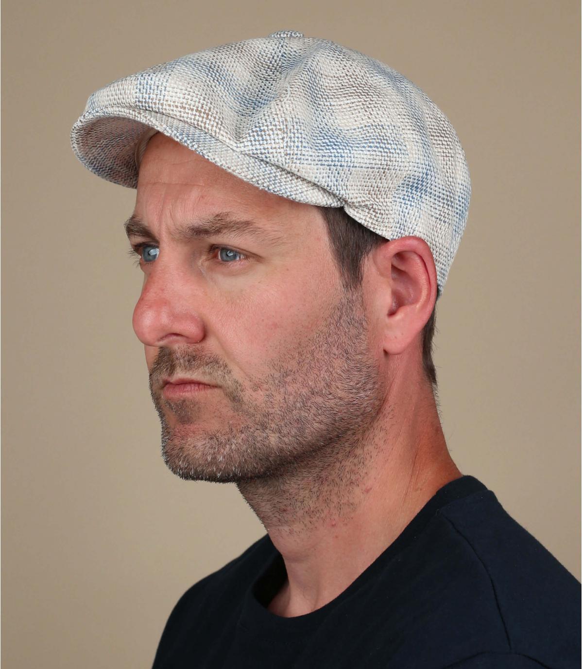 gorra repartidor cuadros beis azul