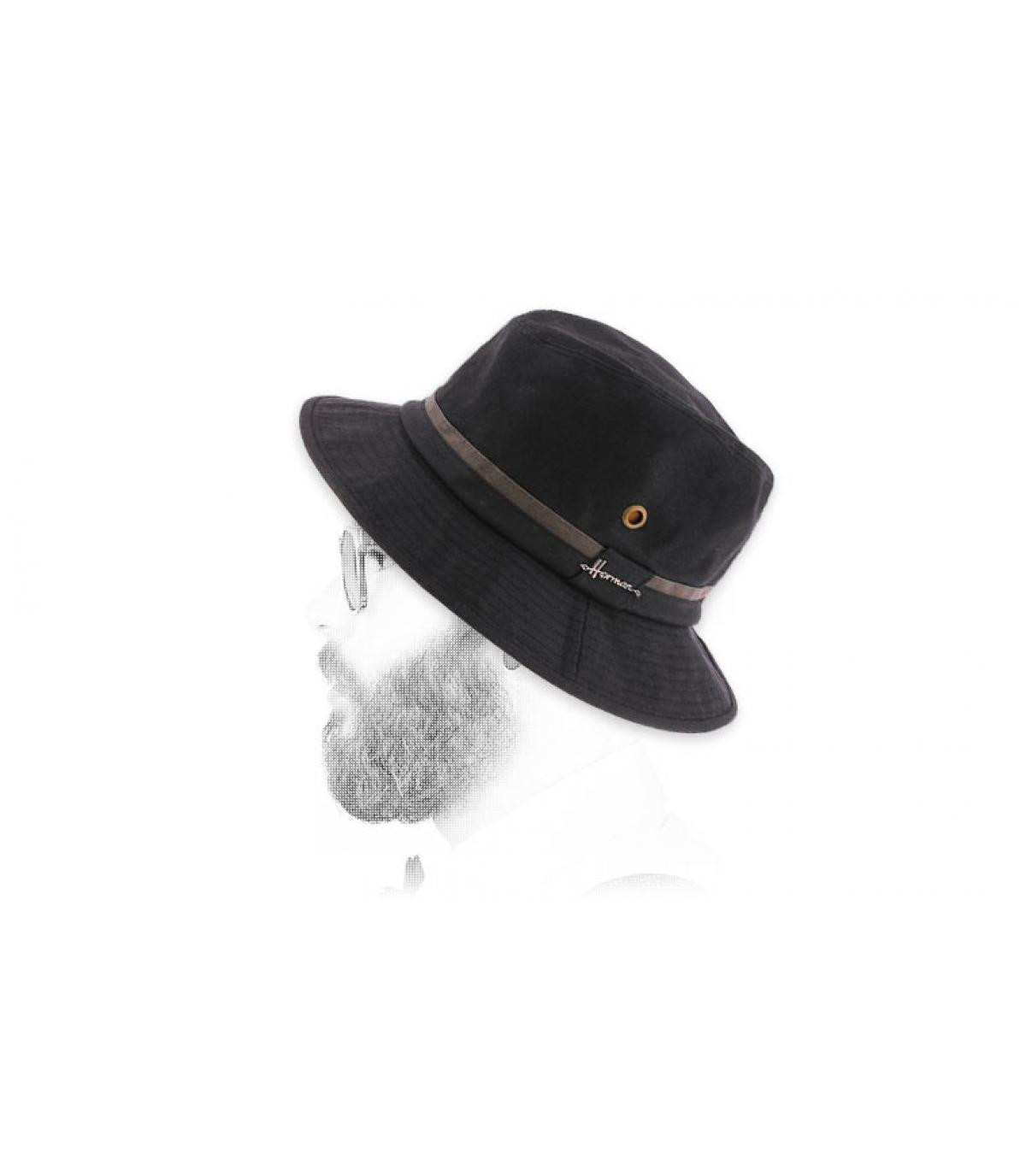 Gorro pescador negro algodón encerado