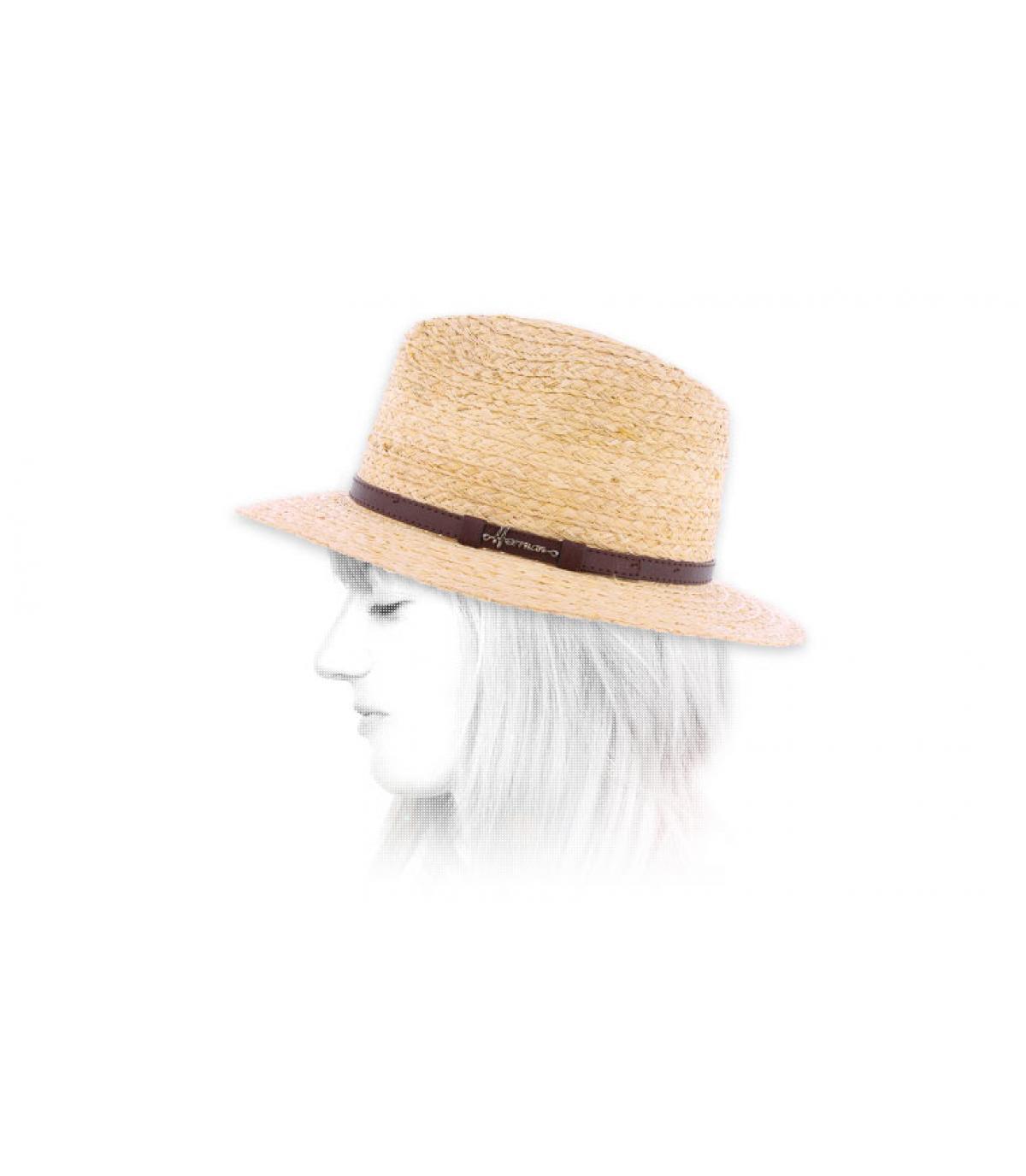 Sombrero paja ancho mujer