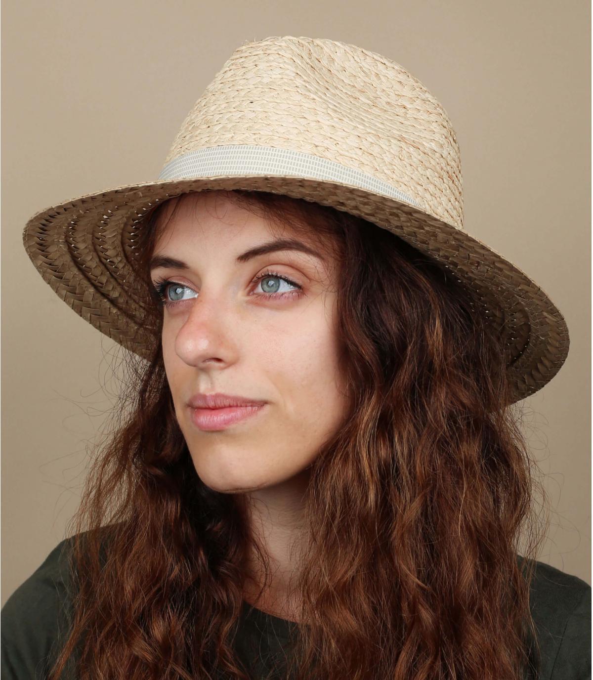 sombrero paja bicolor mujer