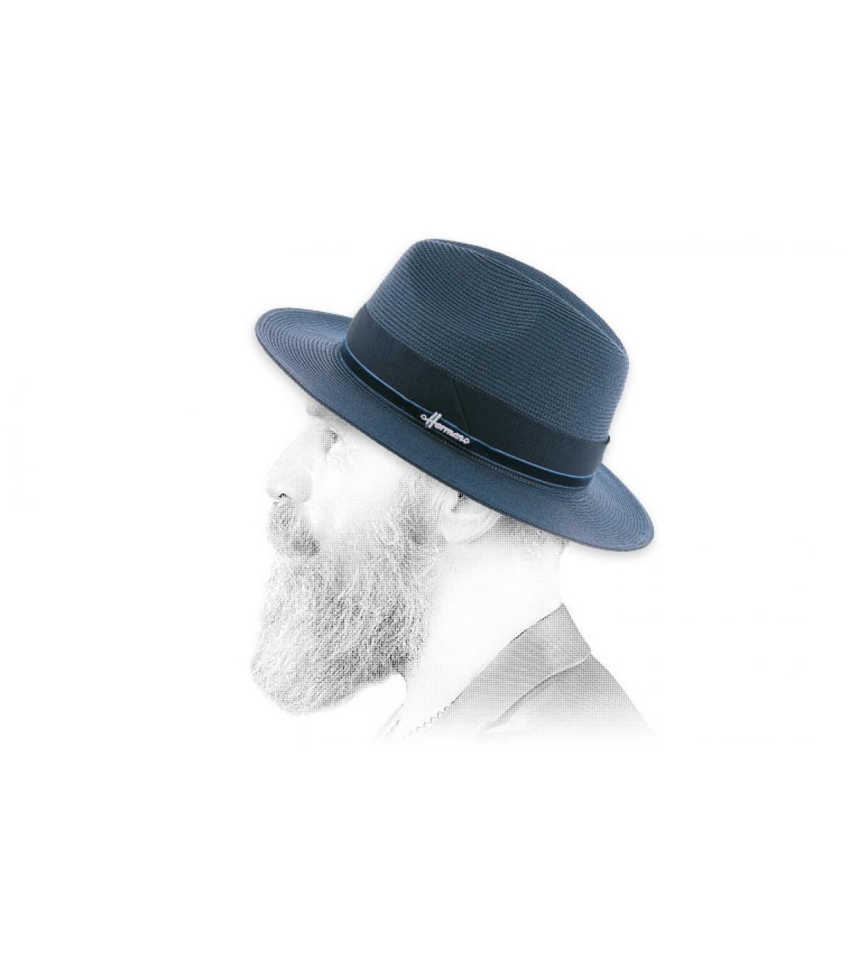 Sombrero paja repelente azul marino