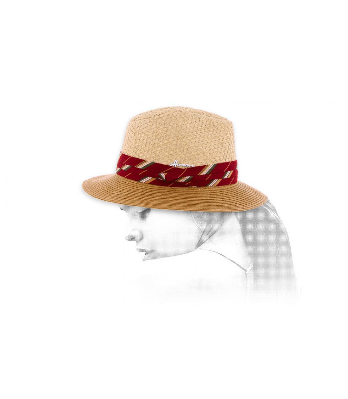 sombrero bicolor cinta rojo