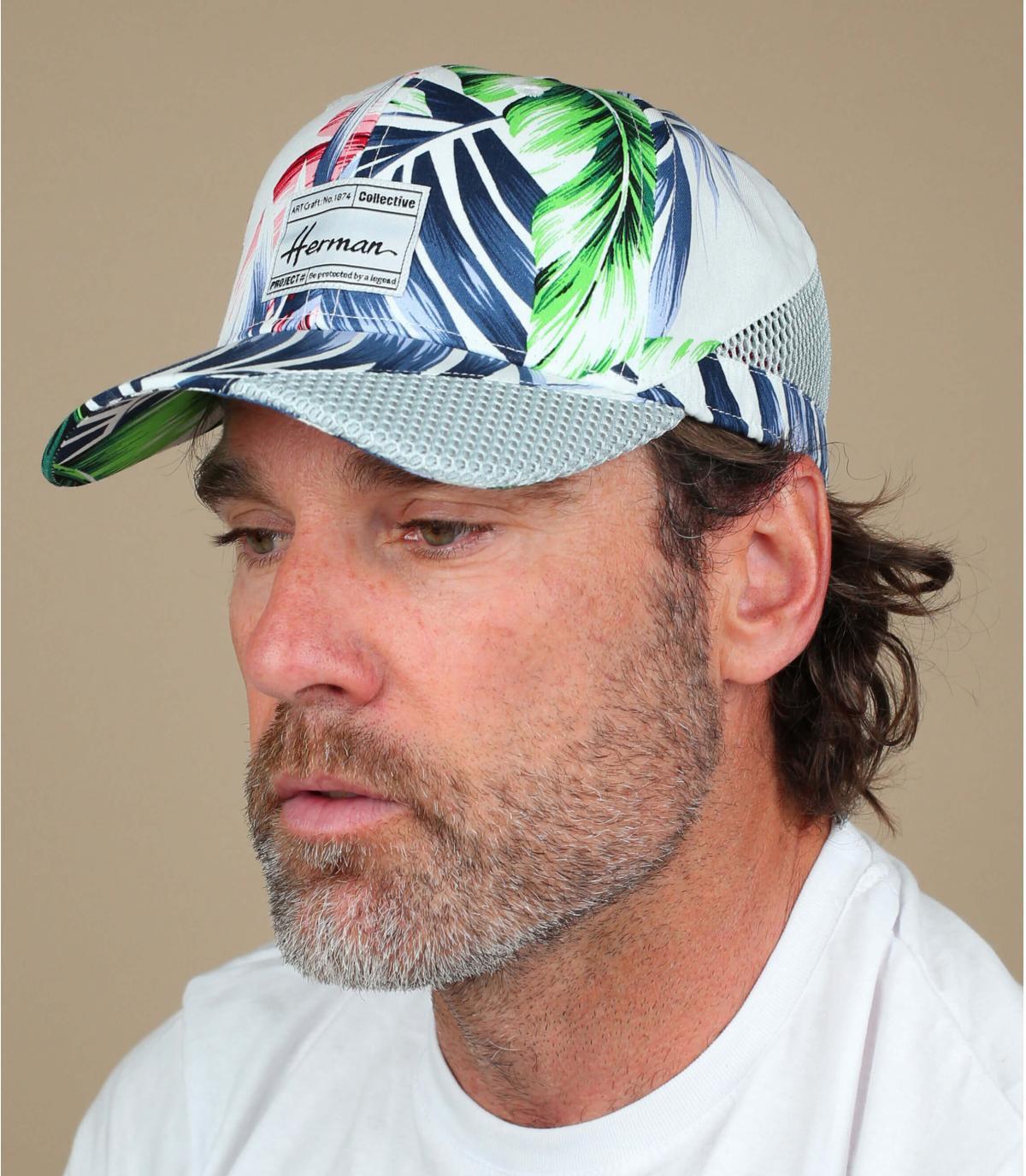 Gorra blanca estampado hojas
