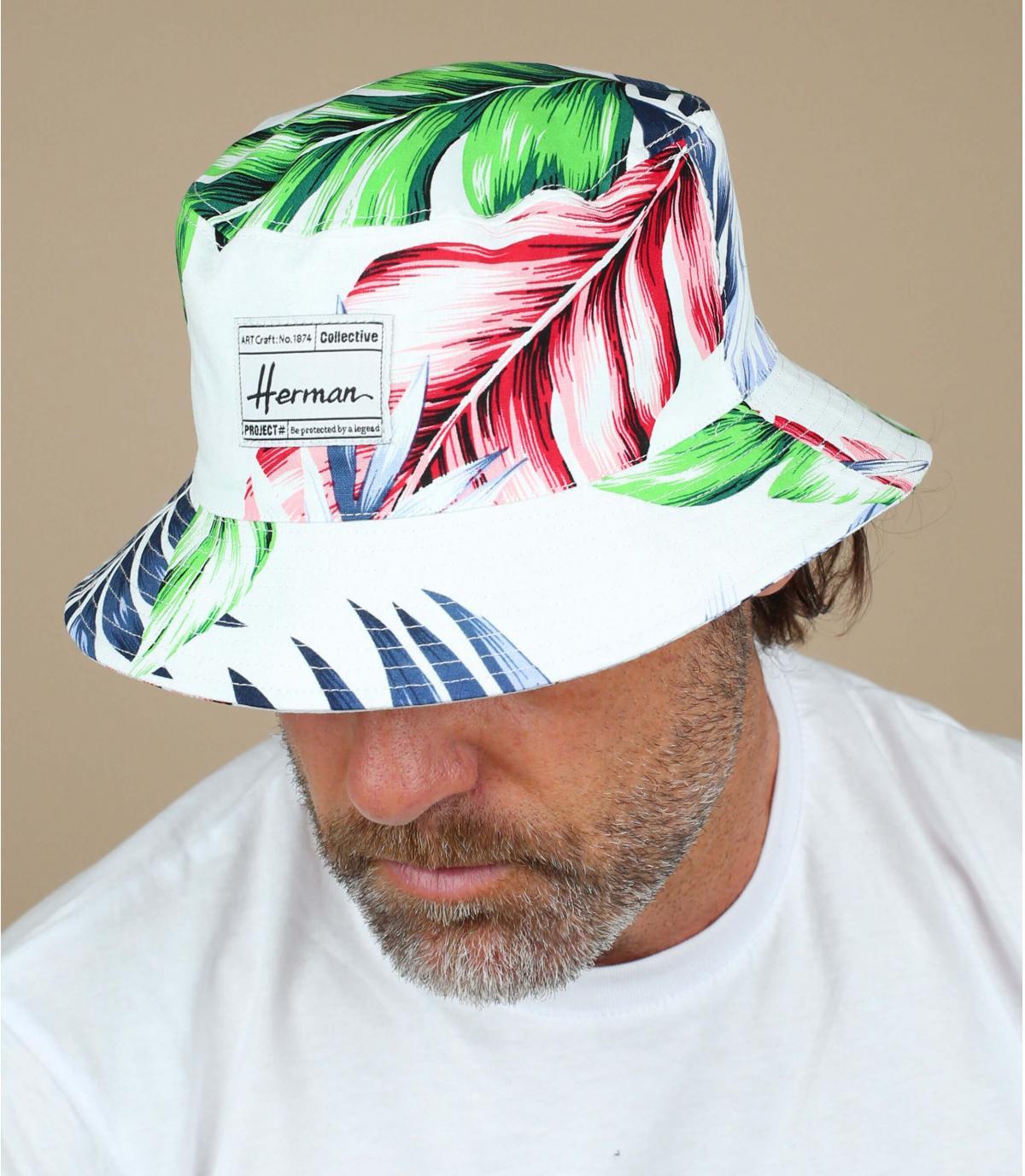 Gorro blanco estampado vegetal