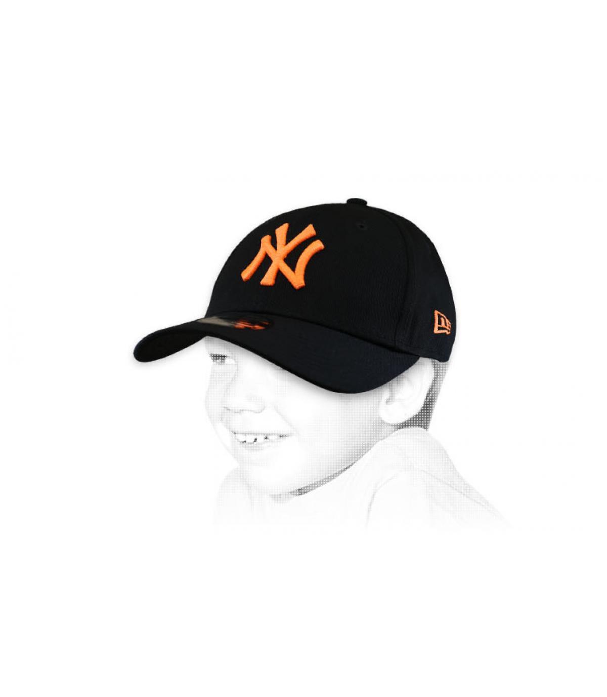 gorra infantil NY negro naranja