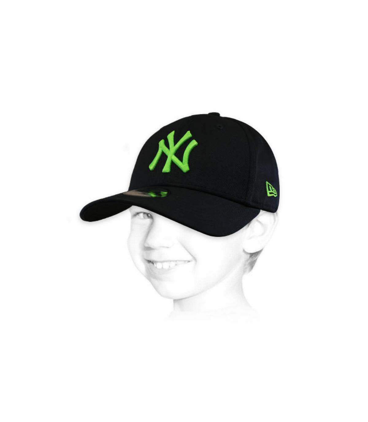 gorra infantil NY negro verde