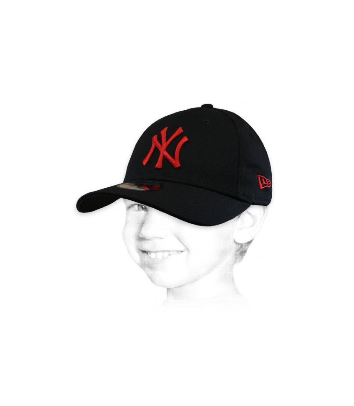 gorra infantil NY negro rojo